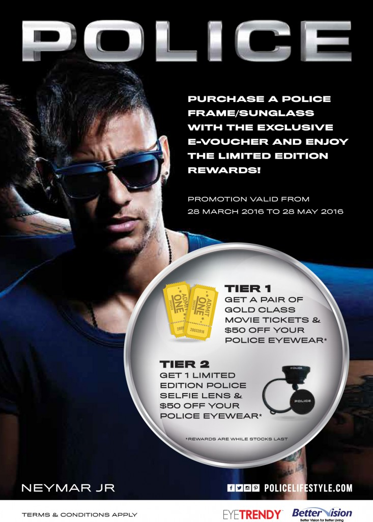 Police eyewear frame and sunglass promotion